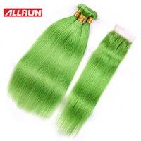 Allrun מלזי צבע ירוק דשא 3 חבילות עם 4*4 סגירת תחרה 100% הארכת שיער אדם רמי 4 יח'\חבילה משלוח חינם