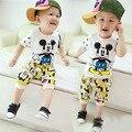 Ребенок комплект новый мальчик комплект одежды cottom короткий рукав рубашки + шорты малыша Boy летнего спортивного установить мультфильма костюм детская одежда установить