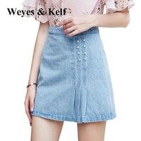 Weyes Kelf Denim All Match Soild Skirt 2017 Autumn Casual A Line Skirts Womens Saia Jeans