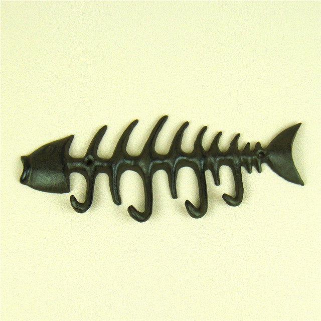 Cast Iron Art Fish Bone Model Wall Hook Handmade Metal Animal ...