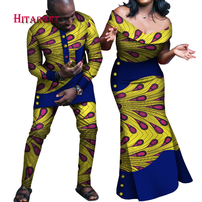 Africano Coppia di Abbigliamento Africano Abiti per Le Coppie di Cera Su Misura In Cotone Africano Coppia di Abbigliamento Africano Paio di Vestiti WYQ237