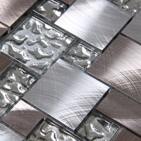 Square Drawbench Aluminum Metal Mixed Mirror Glass Mosaic Mesh Backing For Kitchen Backsplash Bathroom Shower Metal