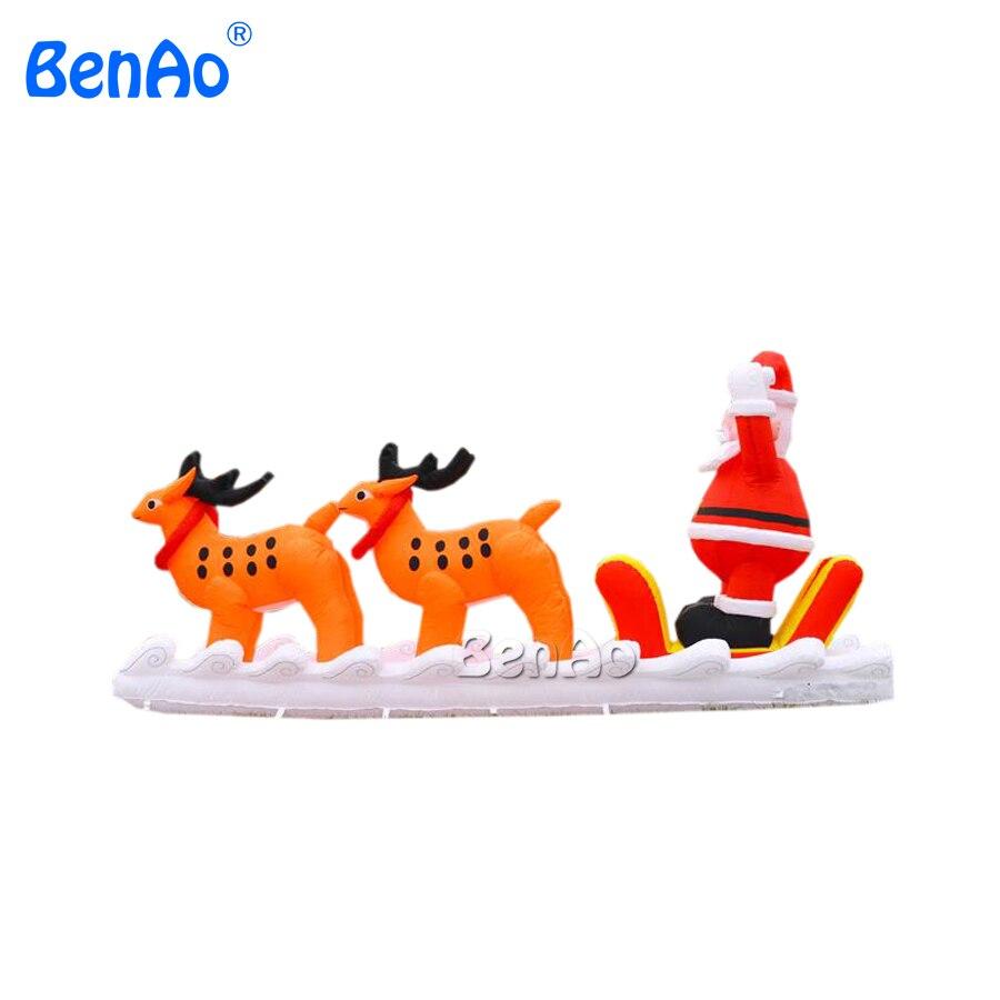 X147Free shipping 5m Decorative Inflatable Christmas Sleigh with Santa for Christmas,christmas inflatable Santa Claus decoration free shipping hot sales inflatable christmas santa claus christmas decoration