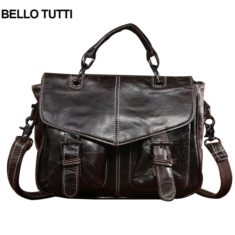 BELLO TUTTI Genuine Leather Bag Men Shoulder Crossbody Bag Men's Travel Messenger Bags Briefcases Leather Laptop Handbag Men Bag