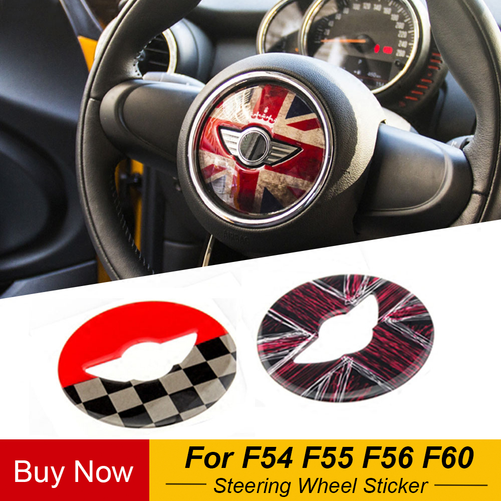 Union Jack Steering Wheel Center Sticker Decal Decoration For BMW MINI Cooper JCW F54 F55 F56 F60 New Countryman Car Styling