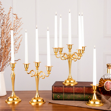 European style Metal Candle Holder 3&5-arms Silver/Gold Candlestick For Home Decor Stand Wedding Decoration