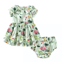 Kids Infant Baby Girls Clothing Sets Cotton Flower Print Summer Dresses +Shorts Baby Sets Toddler Girl Clothes 2PCS