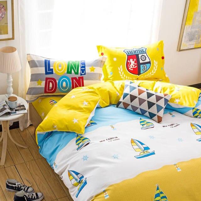 Kinderjungen Cartoon Boot Segeln Tagesdecken Blau Gelb 100