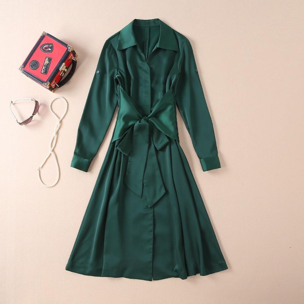 Haute qualité bureau robe 2019 printemps été décontracté travail robe femmes col rabattu croix arc ceinture à manches longues vert robe