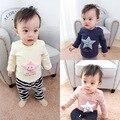 Новорожденных девочек мальчиков толстовки дети о-образным вырезом с длинным рукавом звезды отпечатано флис толстый футболка малышей теплая зима свитер детей 7-24 М