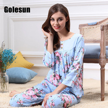 WOMEN spring and summer pure cotton pajamas set round collar  and comfortable breathable pijama women's clothing