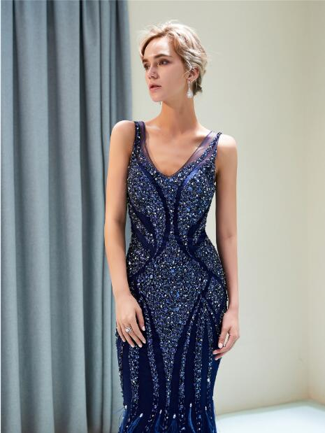 1c24789f4d0d Abiti Da Cerimonia Da Sera Royal Blue Mermaid Evening Dresses Long  Sleeveless Heavy Handly Sew Beads Robe De Soiree Formal Dress-in Evening  Dresses from ...