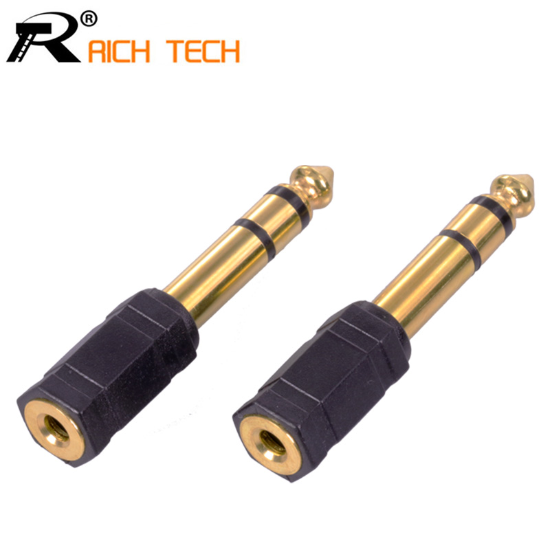 3pcs Gold plated Jack 3.5mm 6 corners Jack 6.35mm 3 pole stereo male plug to 3.5mm stereo female adapter audio microphone plug gold plated 6 3mm male to 3 5mm female 3 5mm male to 6 3mm female audio connectors