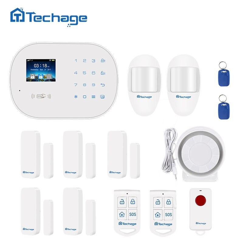 Techage S6 GSM GPRS PSTN Sans Fil Système D'alarme Kit PIR Détecteur de mouvement Intelligent Capteur Accueil Cambrioleur de Sécurité Système D'alarme