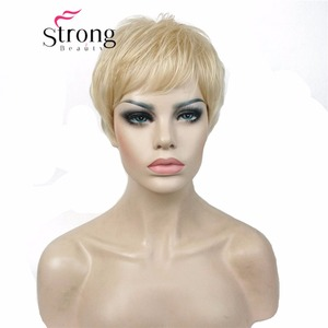 Image 2 - Strongbeauty 슈퍼 짧은 레이어드 및 spikey 금발 전체 합성 가발 가발 블랙 브라운 색상 선택