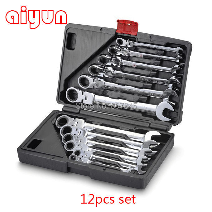 12PCS/set Chrome Vanadium flexible ratchet wrench set 12 , spanner set CRV 10 12 13 14 15mm chrome vanadium quick release ratchet combination wrench spanner set torque adjustable monkey wrench