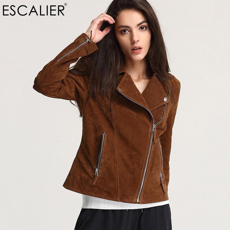 Escalier 2017 Fashion Genuine Leather Jacket Women Zipper Slim Motorcycle Outerwear Coats Turn-down Collar Basic Jackets