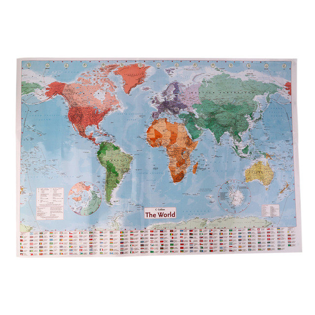 New arrived large world map home decoration detailed english french wall chart teaching poster also rh aliexpress