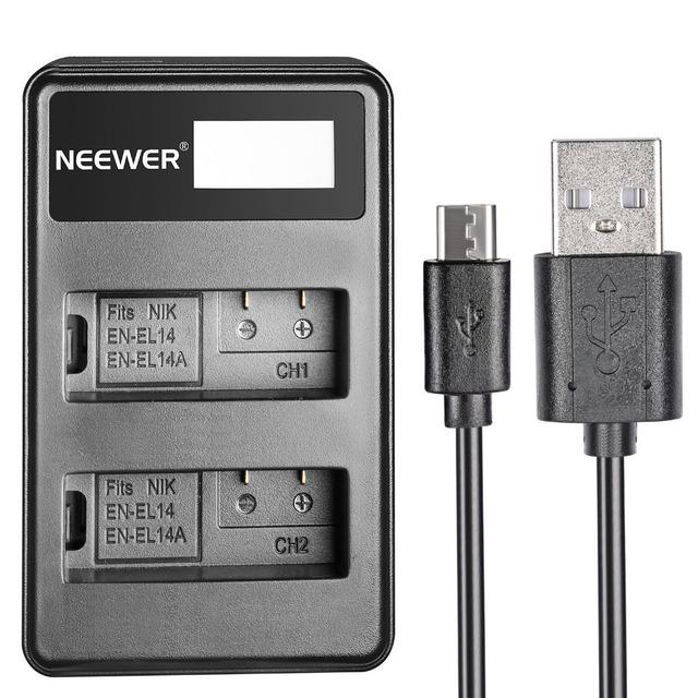 Neewer usb dual carregador de bateria led de exibição para nikon en-el14 bateria recarregável/nikon d3200/d3100/d5200/d5100/d5300/df/d3300