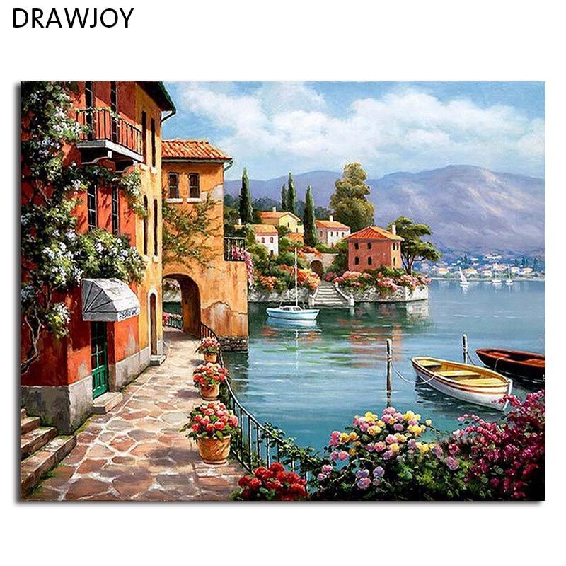 Incorniciato Foto DIY Pittura By Numbers Decorazione Della Casa Per Soggiorno DIY Tela Digitale Pittura A Olio GX6917 40*50 cm