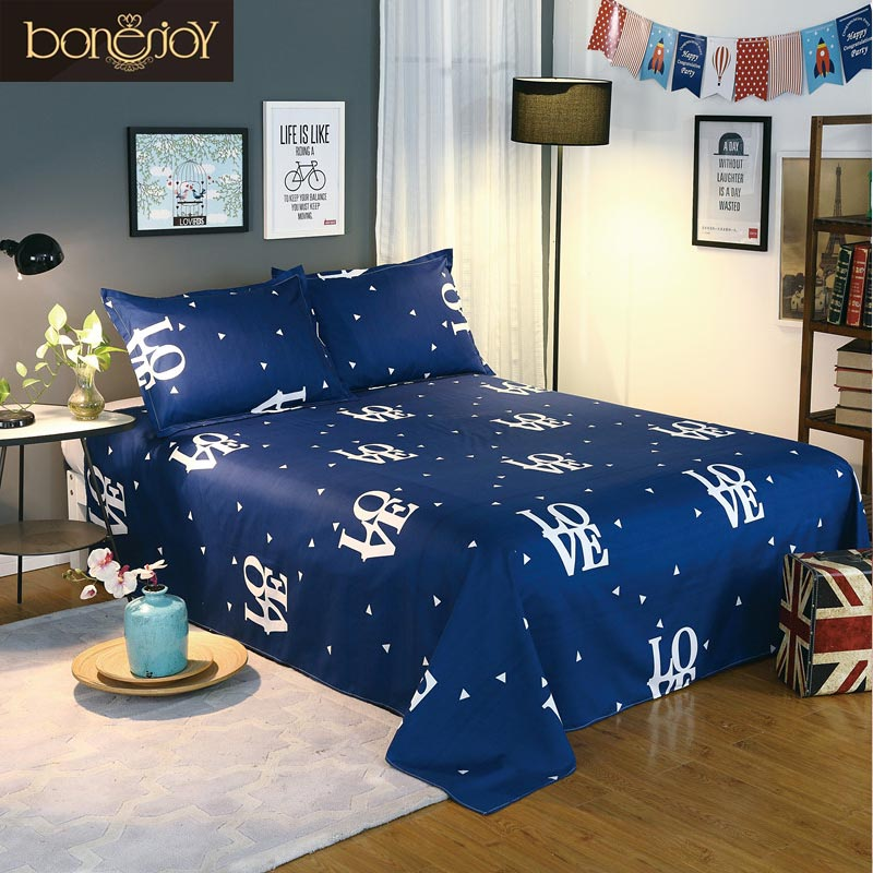 Bonenjoy Blue Color Bedding Sheet 3 pcs King Size Bed Sheet Set for Queen Bed Sheets Letter Printed Flat Sheet with Pillowcase
