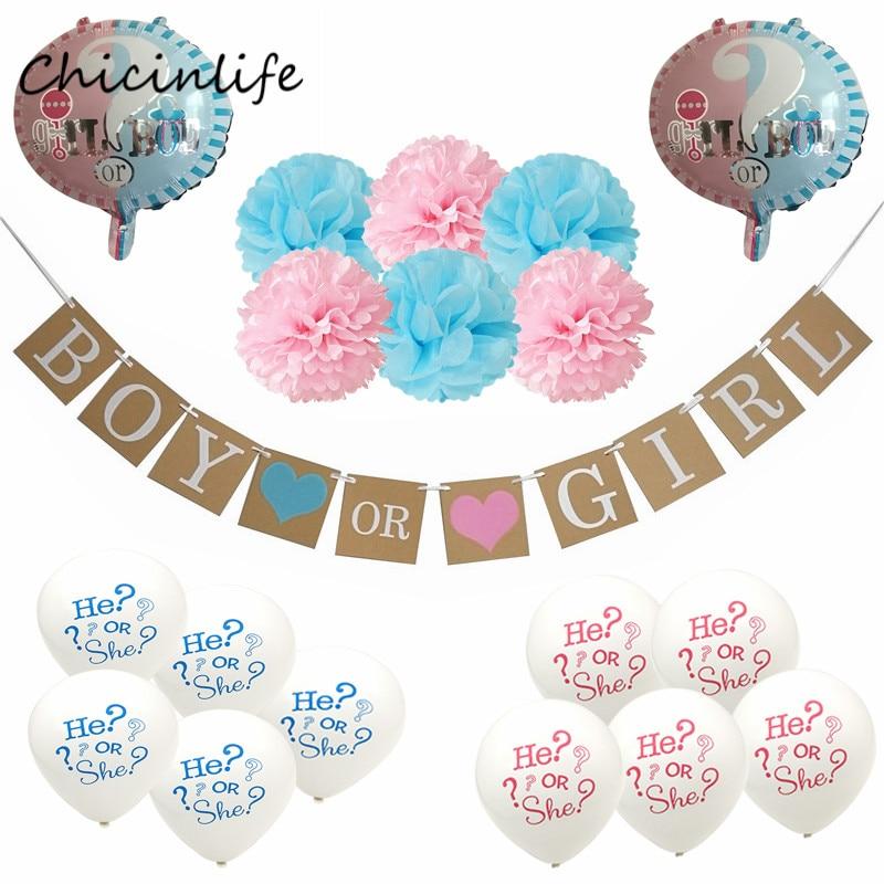 Chicinlife 1set Pink Blue Theme Boy or Girl Banner Balloon Paper Pompom Tissue Flower Gender Reveal Party Decoration