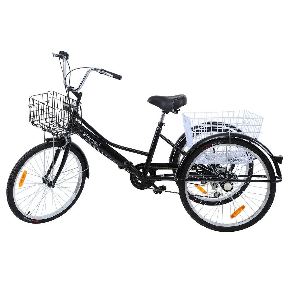 (Navire de L'allemagne) Ridgeyard 3 Roues Trike 24 tricycle pour adultes 6-vitesse Shimano noir panier