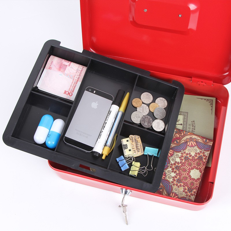 Mini Portable Security Safe Box Money Jewelry Storage Collection Box For Home School Office With Compartment Tray Lockable XS (3)