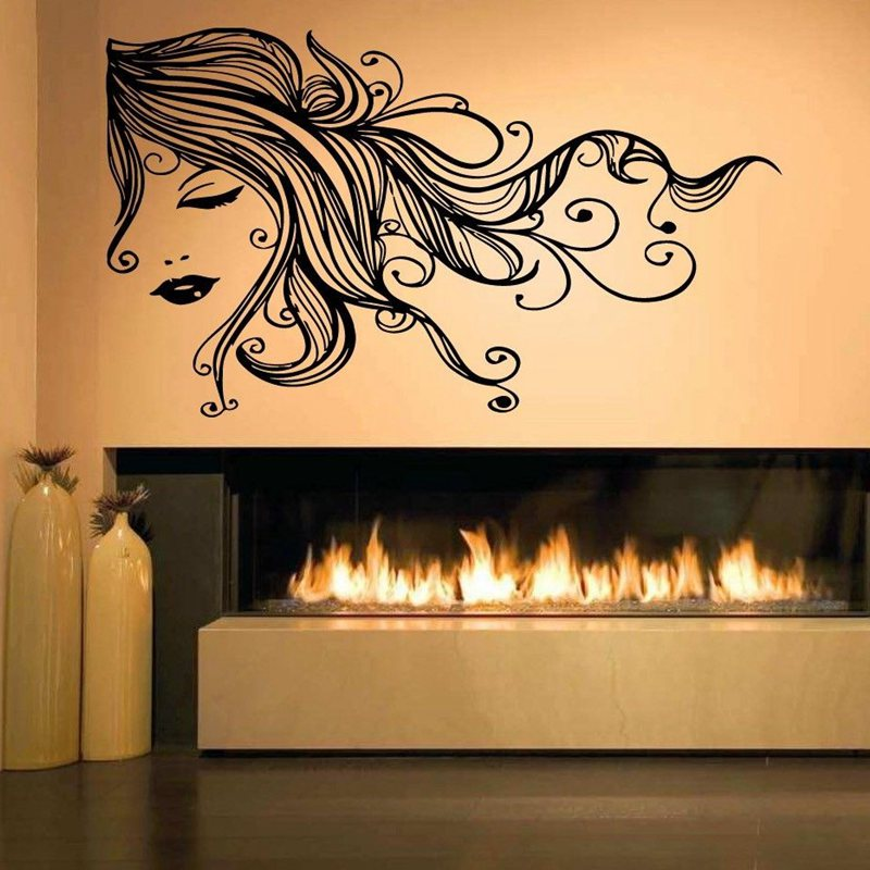 Hair salon sticker beauty decal haircut name posters vinyl wall art decals de - Decoration mural salon ...