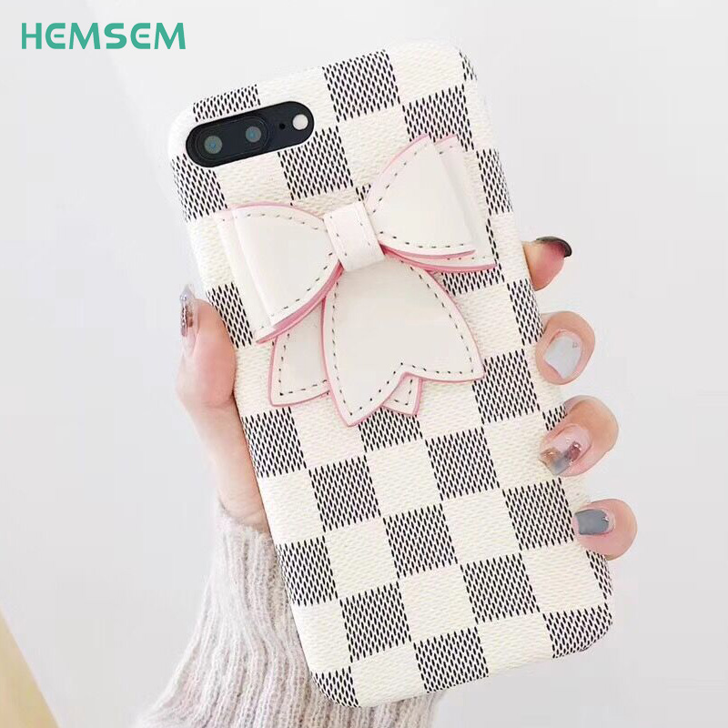 luxury Classic black white square grid Bow tie Fashion Phone Case for iPhone 6 6s 7 8 plus Cover PU Leather Shell for PrettyGirl