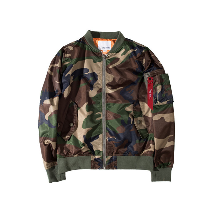 2017 New Autumn men Quilted Wadded Outerwear Camo Camouflage Military Style MA1 flight <font><b>Bomber</b></font> <font><b>Jacket</b></font> Coat Baseball China Size