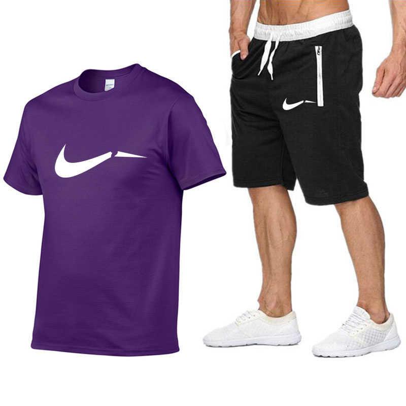 גאות מותג גברים של סטי T חולצות + מכנסיים קצרים 2 חתיכות סטים מקרית אימונית 2019 אופנה מגניב Tshirt חדרי כושר כושר sportswears חליפות סט