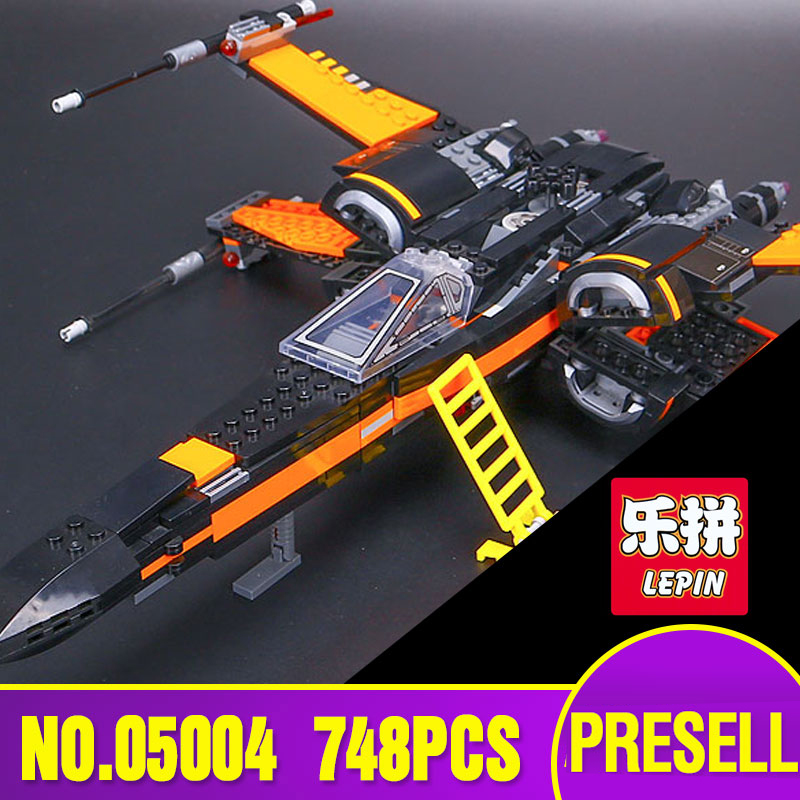 LEPIN  05004 Star 748Pcs Wars First Order Poe's X Fighter wing 79102 Building Blocks Compatible with children boys' Toy