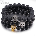 A&N Natural Matte Agate Beaded Bracelets AAA+ High Quality Hollow Zircon Skull Charm Bracelets Solid Black Casual Men Bracelets