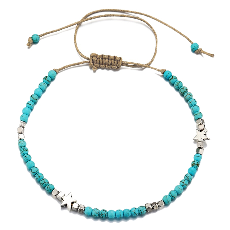 Bohemian Star Beads Stone Anklets For Women Vintage Woven Rope Pendant Bracelet On Leg Anklet Beach Ankle Jewelry New Gift