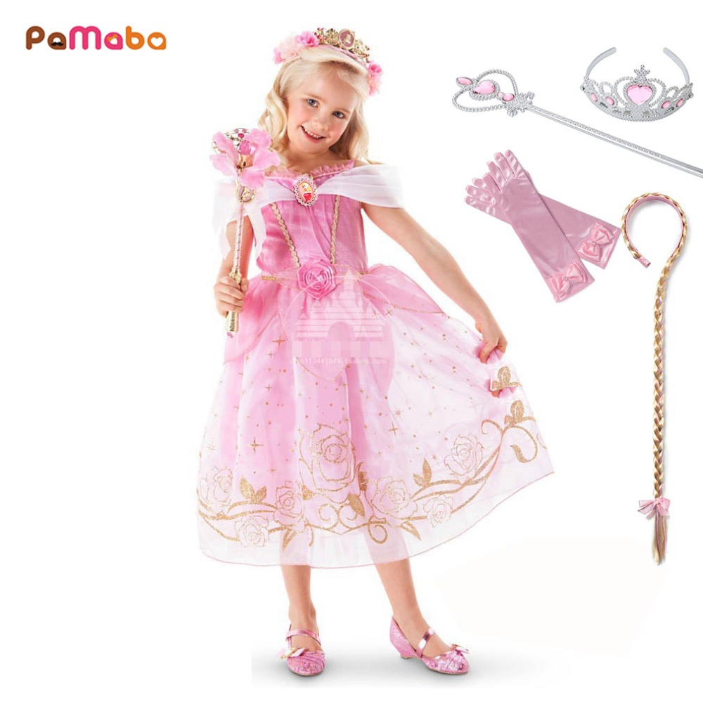 pamaba fancy girls princess aurora dresses birthday party cinderella frocks  kids summer clothes child halloween cosplay costumes 4f7b7e820ae7