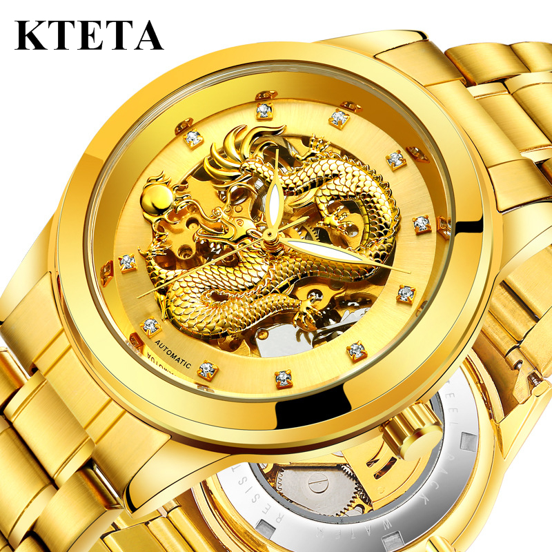 Golden Dragon Wrist Watch Men Automatic Mechanical Watch Mens Watches Top Luxury Brand Famous Clock For Male Relogio Masculino