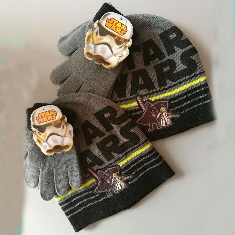 Бренд Звездные войны детские вязаные перчатки для мальчиков головные уборы наборы зима мультфильм Рождество День год подарок на Хэллоуин - Цвет: Темно-серый
