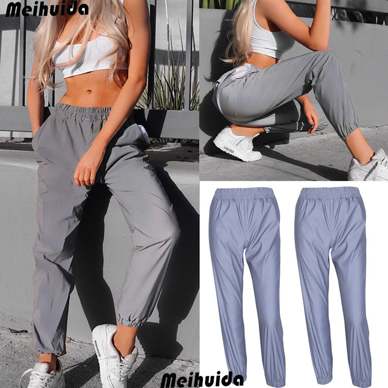 19 New Women's Reflective Pants loose High waist cargo Trousers Jogger Baggy Trousers glowing pants pantalon reflechissant 2