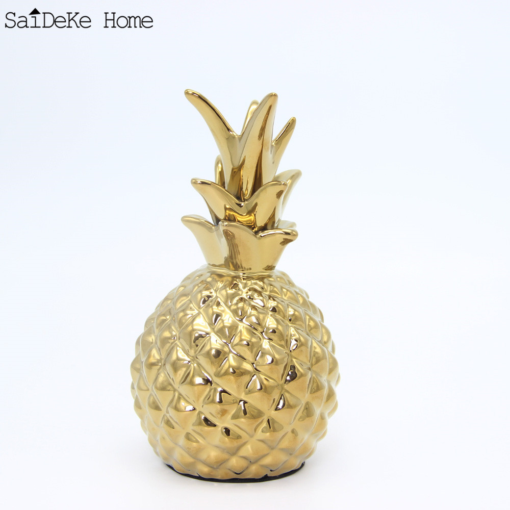 Ceramic golden pineapple ornaments tropical pineapple for Ananas dekoration