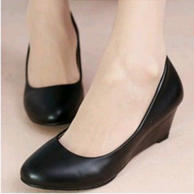 427f51c112 US $13.9 9% OFF Spring Autumn Office Lady Shoes Women Wedges Pumps High  Heels White Wedding Shoes Woman Boat Shoes Ladies Basic Pump-in Women's  Pumps ...