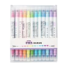 12 Colores/juego de bolígrafos Mildliner lindos Resaltadores de doble cabeza, bolígrafo fluorescente de dibujo artístico, rotulador de papelería, suministros escolares
