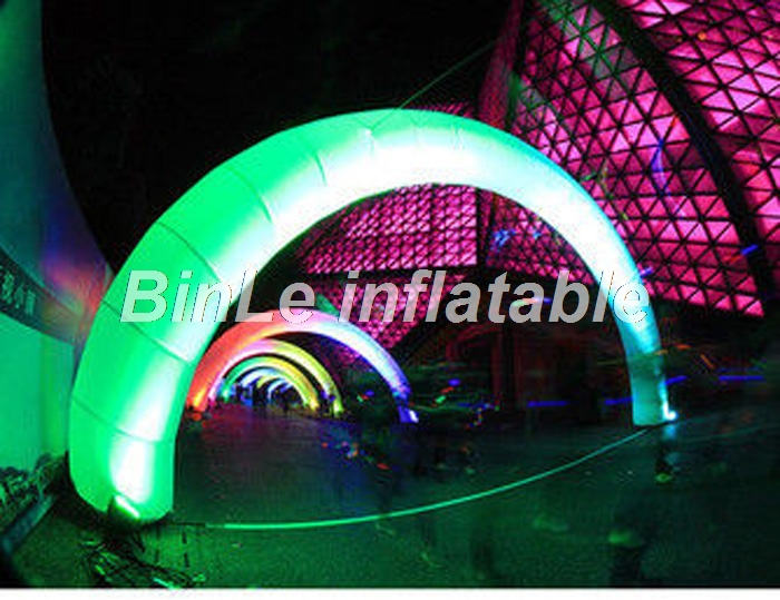 Fantastic led inflatable arch customized inflatable rainbow arch with RGB lighting for show 32ft 10m inflatable rainbow arch for advertisement with blower 220v 110v
