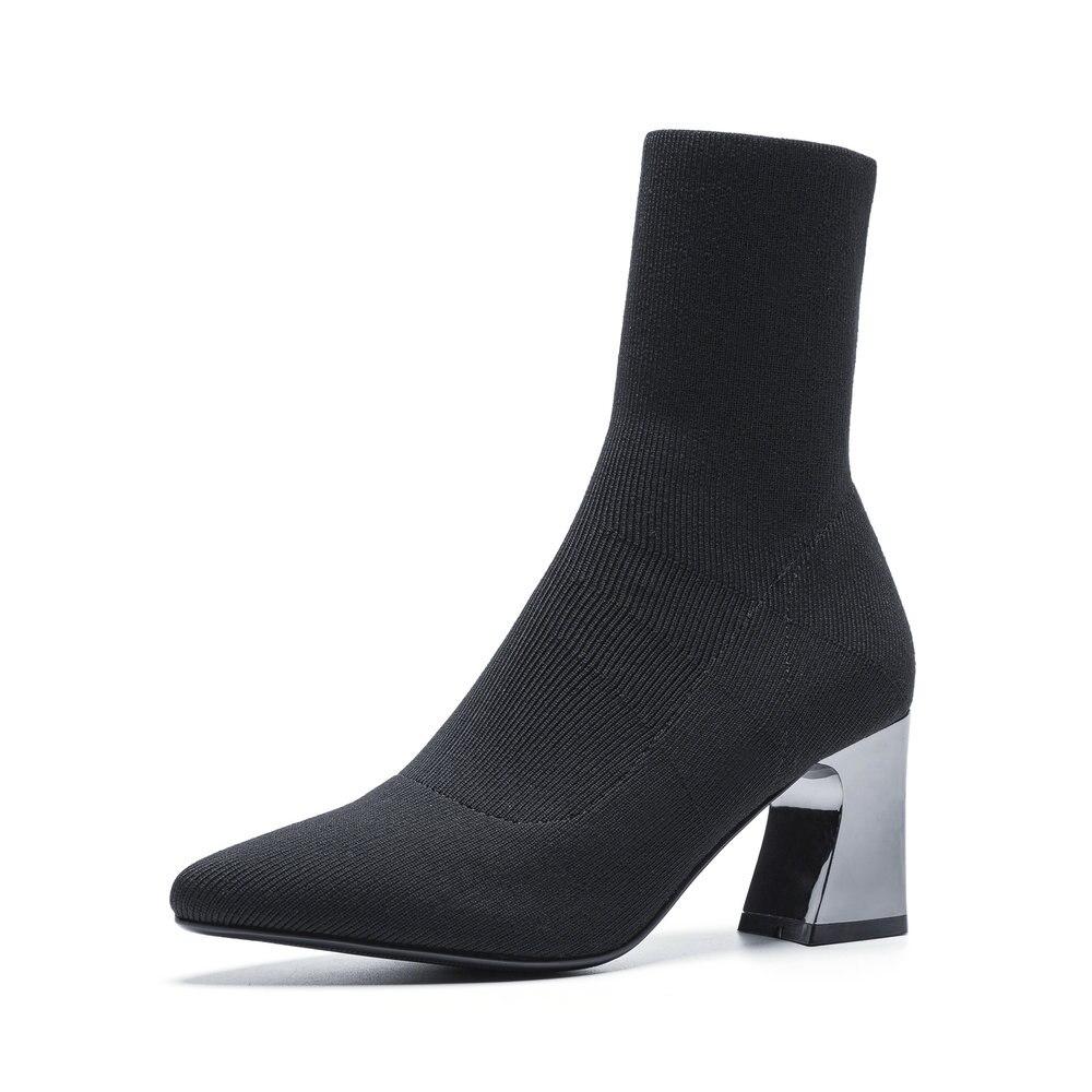 Slip Mujer Botas Alto Calcetín 2018 Zapatos De Pantorrilla Otoño wOxnE