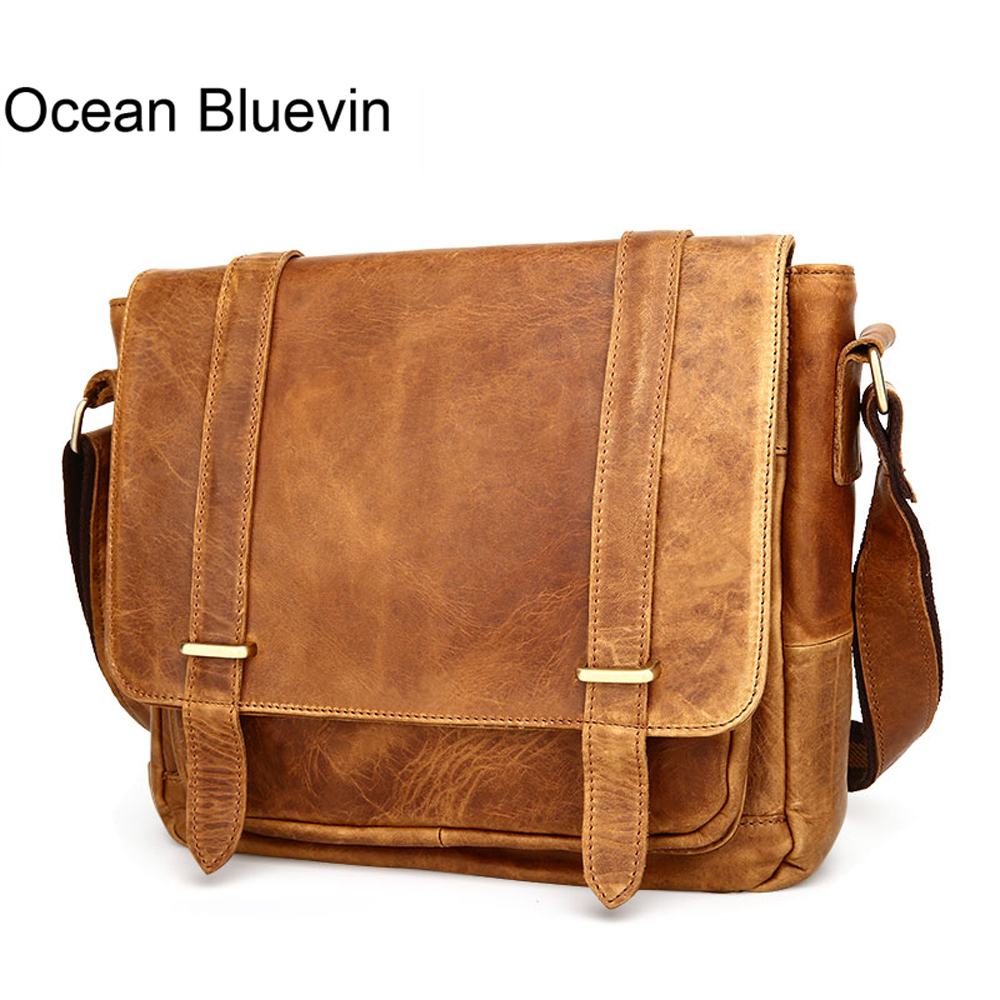 OCEAN BLUEVIN Designer Vintage Men Messenger Bags Genuine leather Real Leather Chest Pack Cross body Sling Single Shoulder Bag