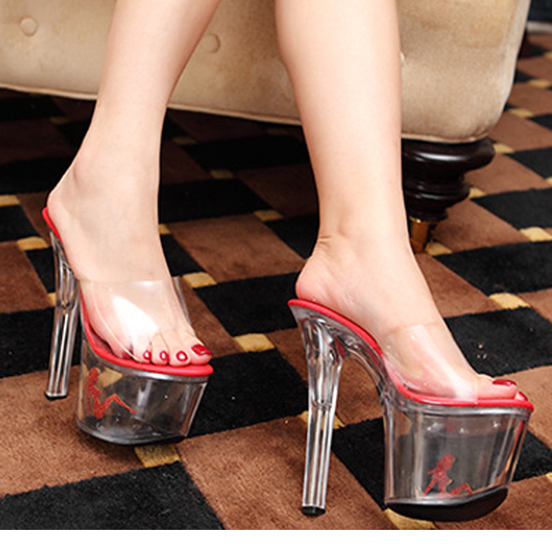 New2014Fashion Transparent Women Pumps Sexy Crystal High Heels Sandals  Crystal Bottom Slides Sexy Nightclub Shoes Big Size 35 44-in Slippers from  Shoes on ... 1987b9537ccd