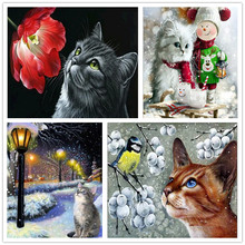 Animals 5D DIY Diamond Painting Cross Stitch Needle Cat Round Embroidery Home Decor