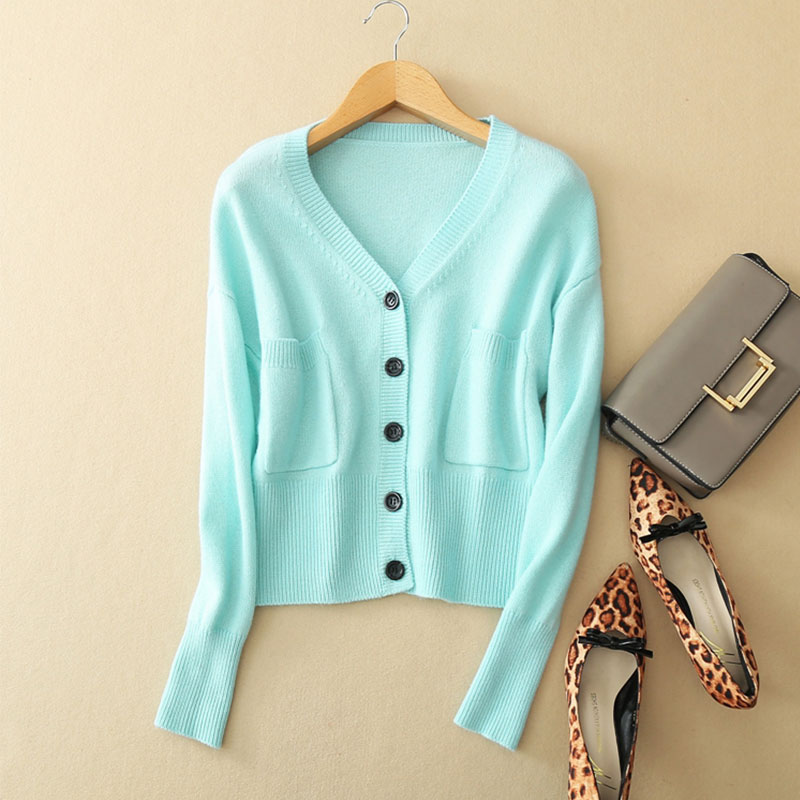 Kashana 2018 Spring Fashion Cashmere Sweater Cardigan 100% Cashmere Knitted Crew Neck Long Sleeve Soft Blue Sweater Cardigan