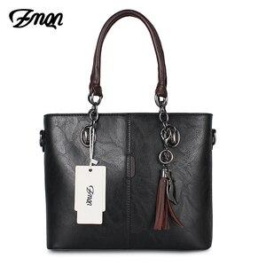Image 3 - Zmqn bolsa feminina de luxo, bolsa feminina grande de mão modelo carteiro feita em couro, estilo 2020