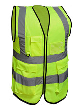 Multiple pockets high visibility zip front breathable safety vest with reflective strips fluorescen neon yellow protective suit